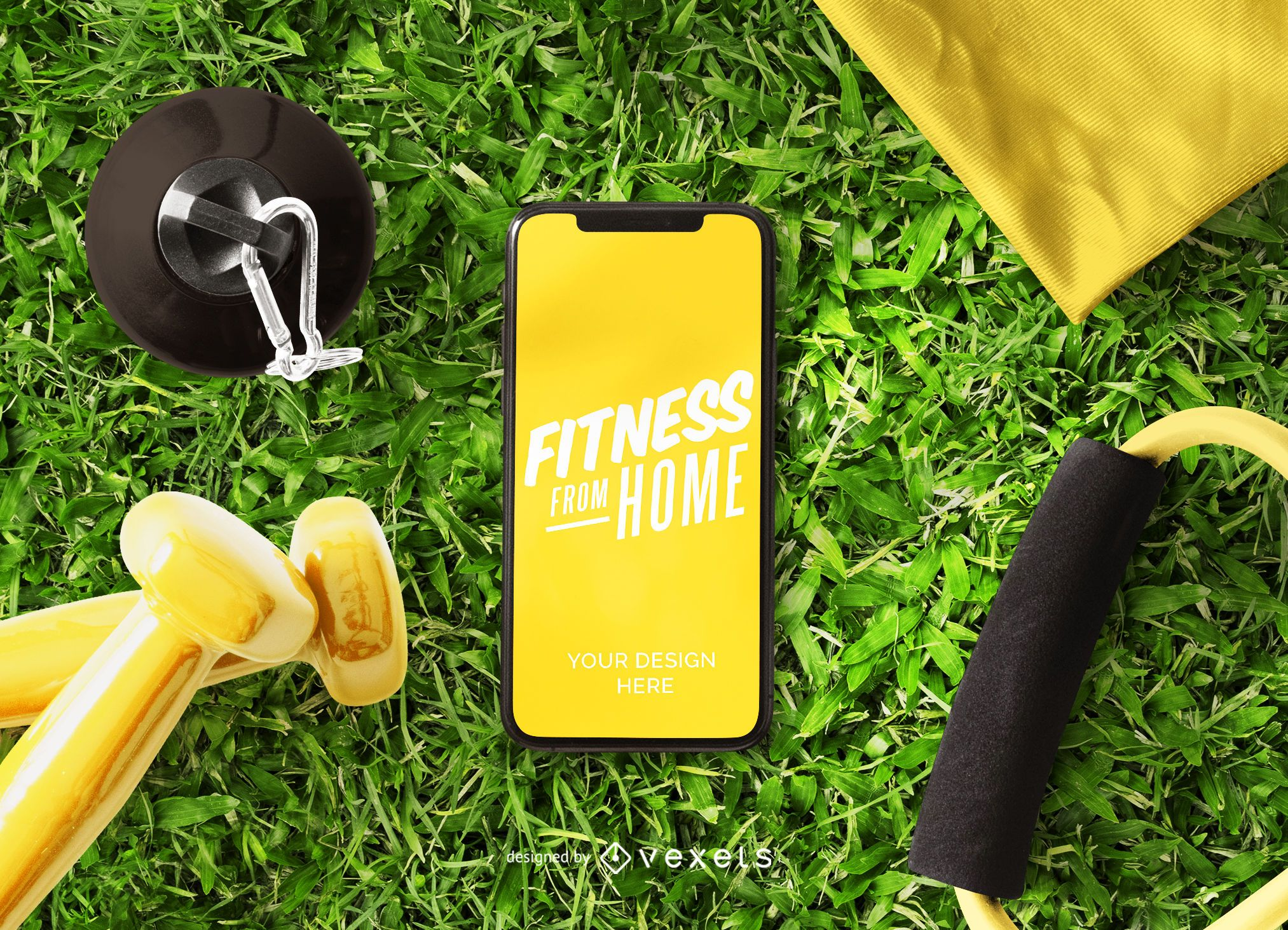 Fitness from home phone mockup design