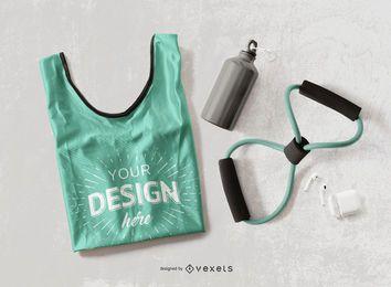 Diseño de maqueta de camiseta sin mangas de fitness