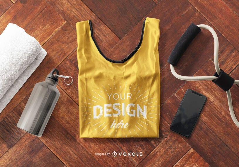 Composición de la maqueta de la camiseta sin mangas Fitness
