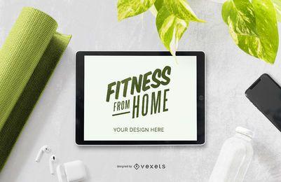 Composição de maquete de tablet fitness