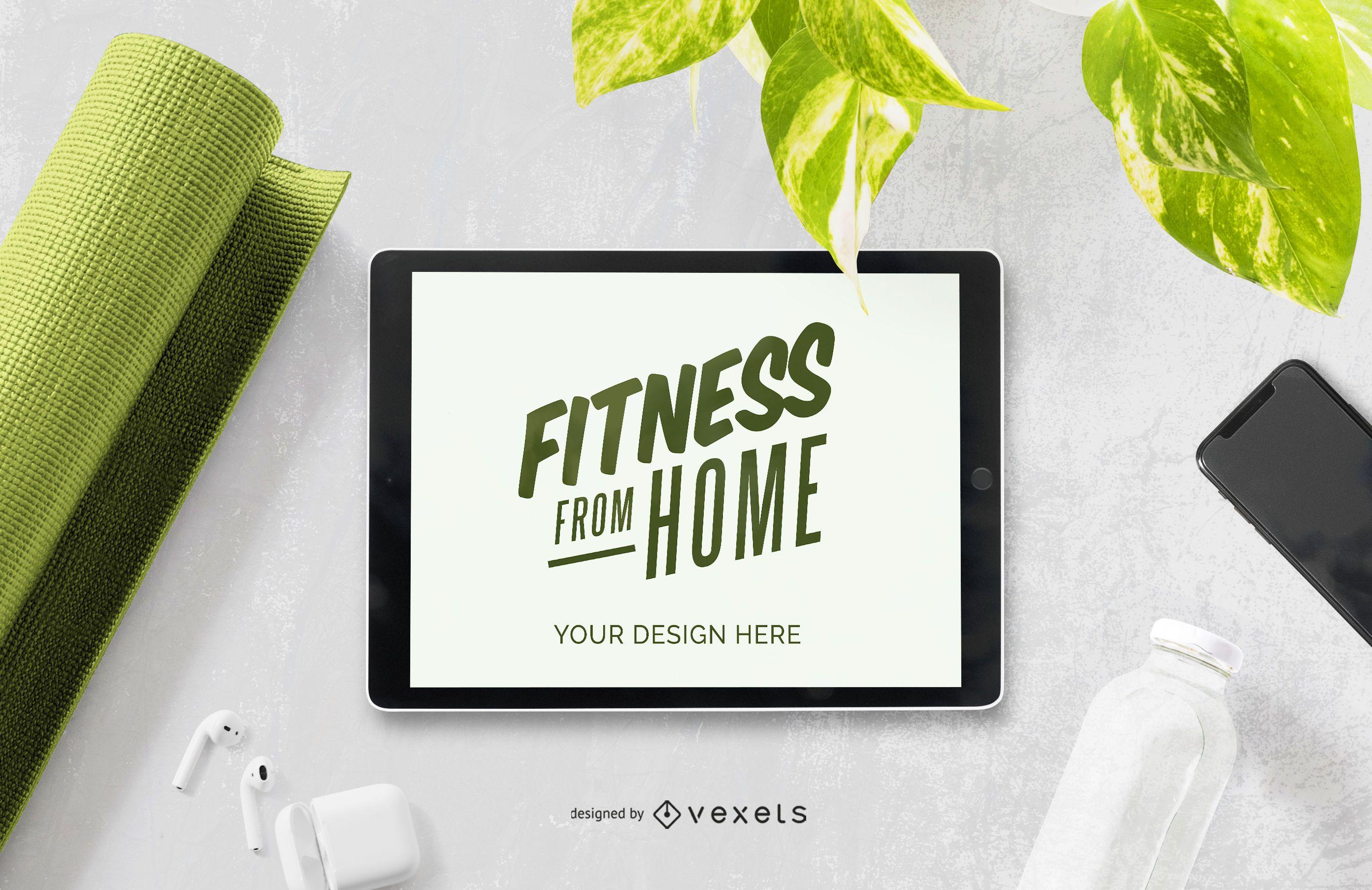 Composição de maquete de tablet de fitness