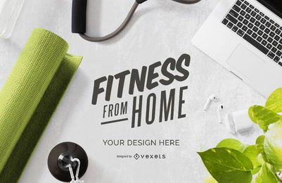 Fitness from home yoga mockup composition