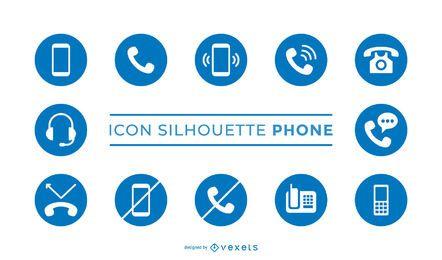 Paquete de iconos de silueta de teléfono