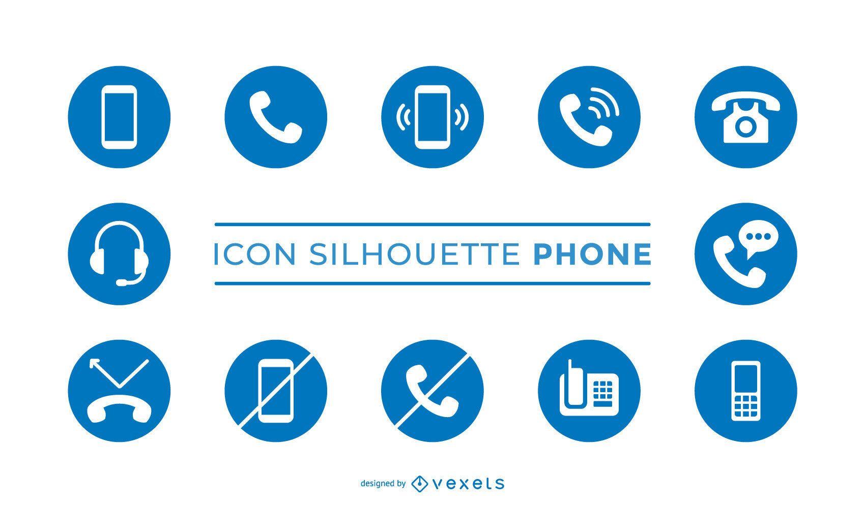 Pacote de ícones da silhueta do telefone