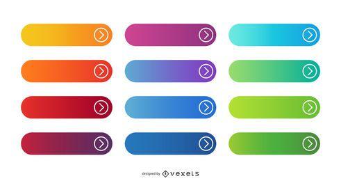 Pacote de botões redondos com gradiente de cores