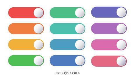 Conjunto de botões de interruptor redondo colorido