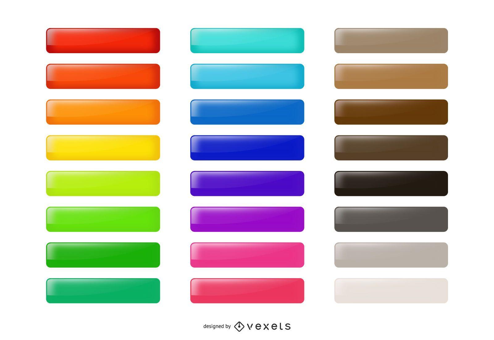 Pacote de botões coloridos brilhantes