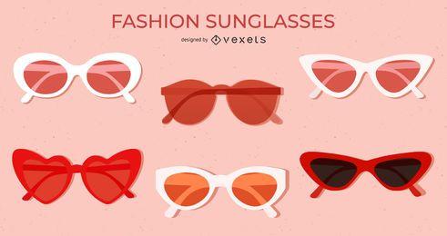 Rot gefärbtes flaches Sonnenbrillenset