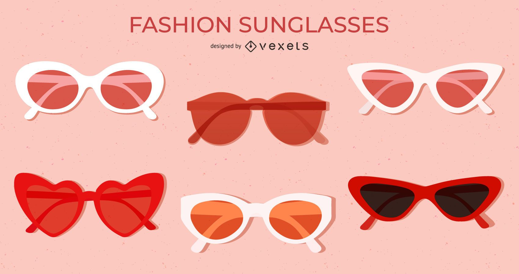 Conjunto de gafas de sol planas de color rojo