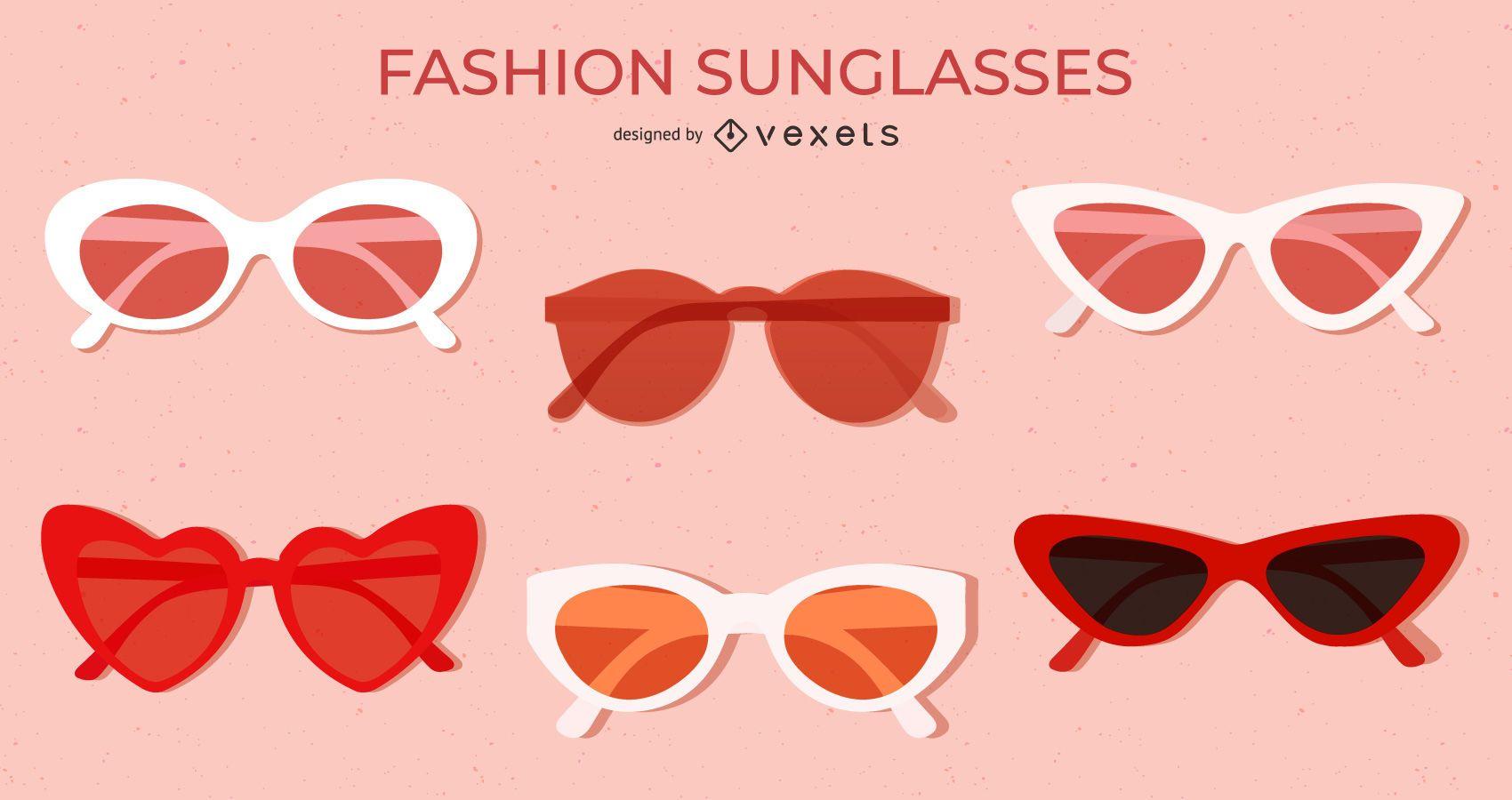 Red Colored Flat Sunglasses Set
