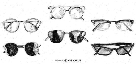 Paquete de diseño de bocetos de gafas y gafas de sol