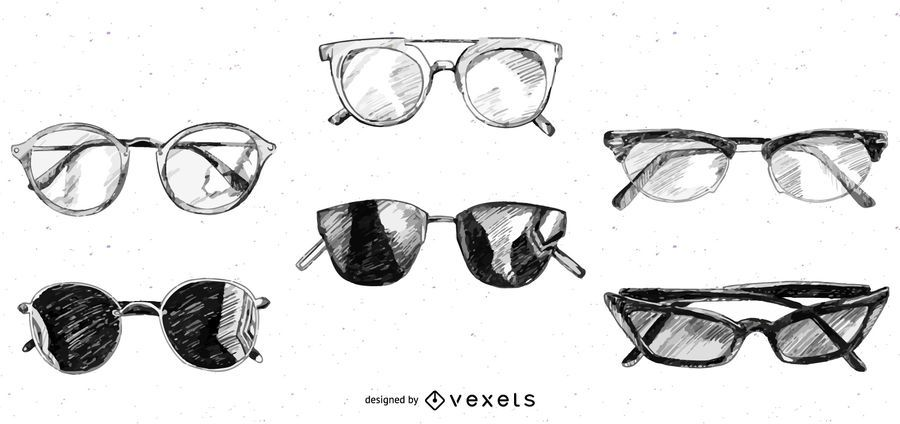 Glasses and Sunglasses Sketch Design pack