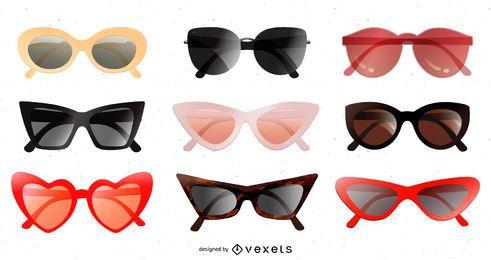 Paquete de diseño de gafas de sol brillantes