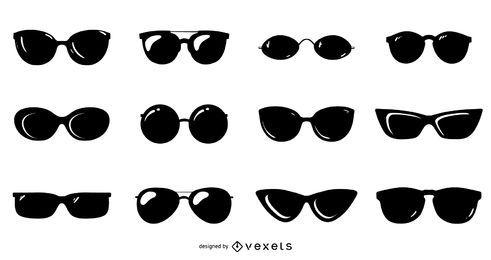 Pacote de design de silhueta de óculos de sol