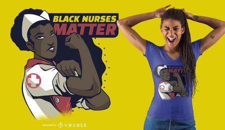 Projeto preto do t-shirt da matéria das enfermeiras