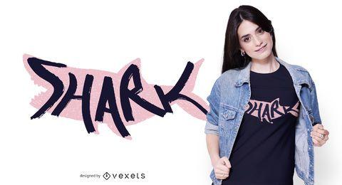 Design de camisetas com letras de tubarão