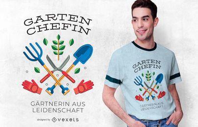 Design de camisetas com citações alemãs de jardinagem