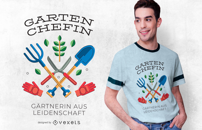 Diseño de camiseta de cita alemana de jardinería