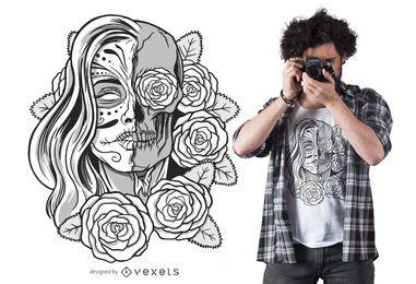 Diseño de camiseta de undead Sugar Skull Girl