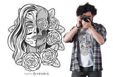 Diseño de camiseta Undead Sugar Skull Girl