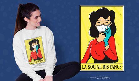 Design de camiseta social de distância menina