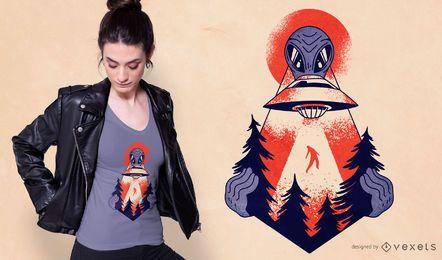 Diseño de camiseta Forest Alien Abduction
