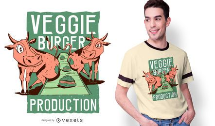 Design engraçado do t-shirt do hamburguer do vegetariano