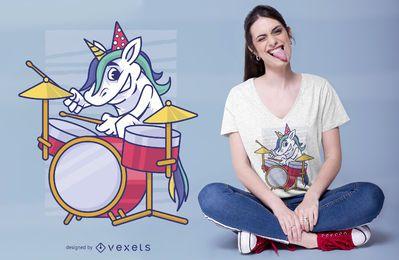 Design de t-shirt de baterista de unicórnio de aniversário