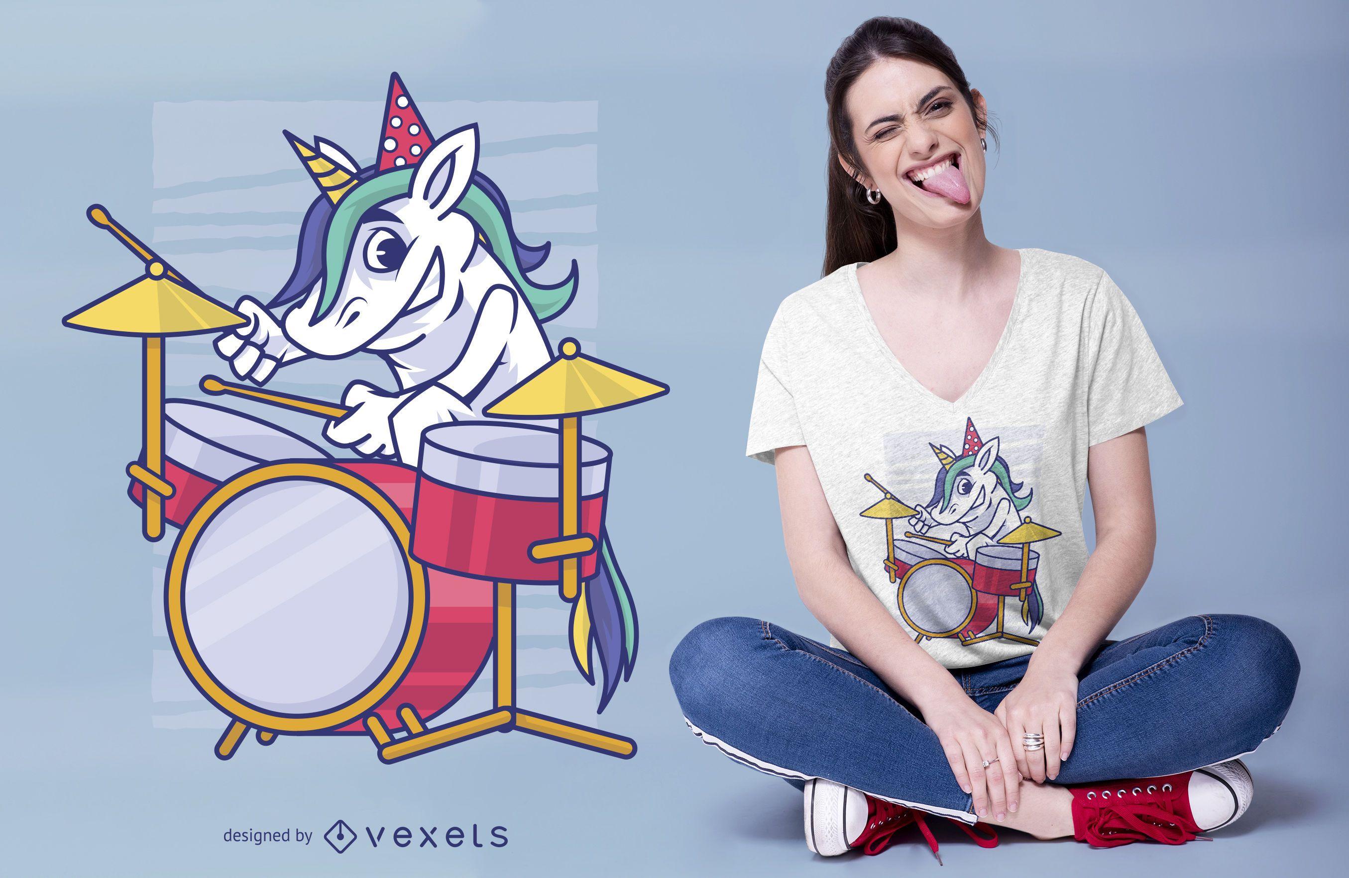 Birthday Unicorn Drummer T-shirt Design