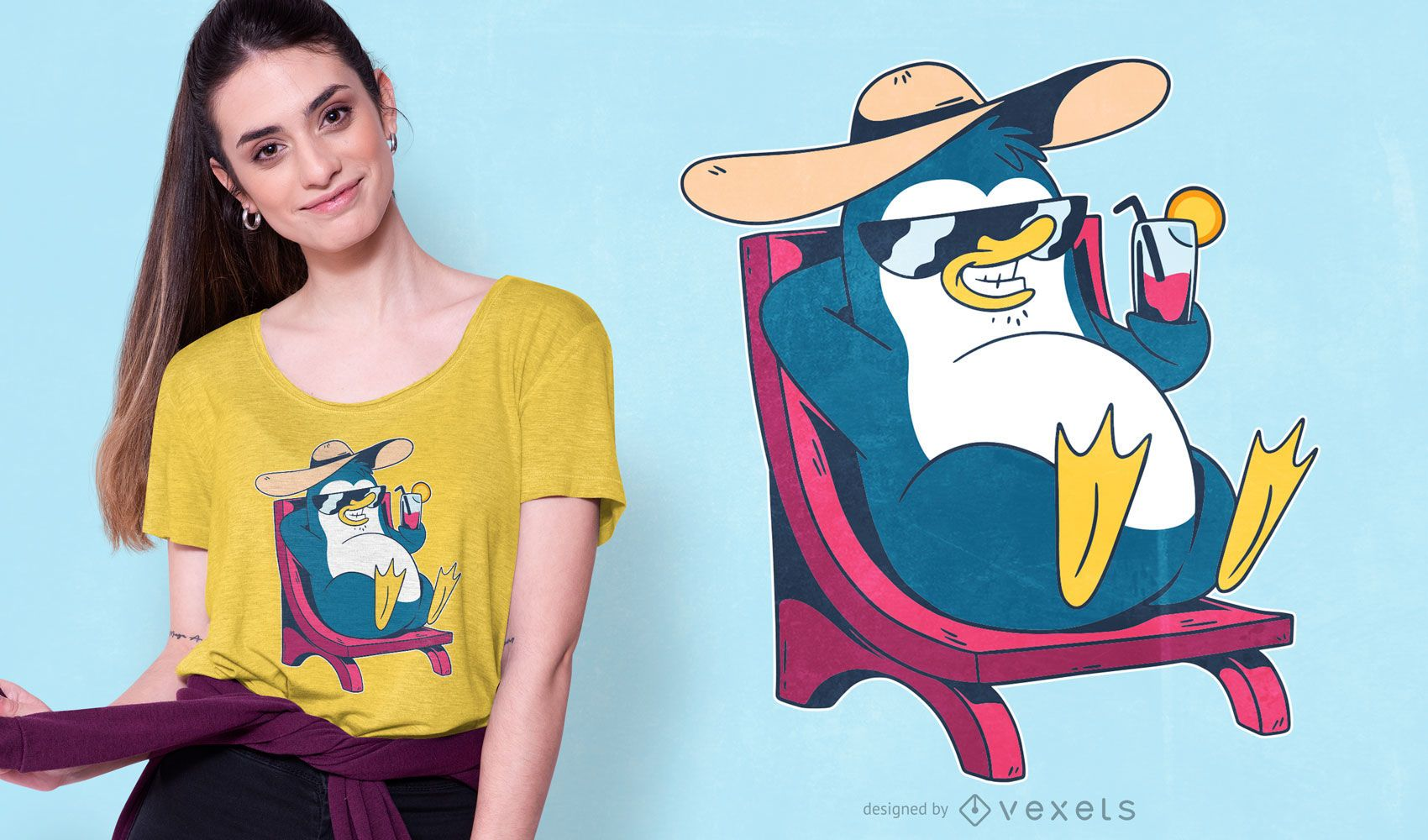 Cool Penguin Cartoon T-shirt Design