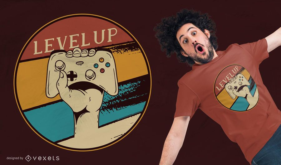 Diseño de camiseta Level Up Vintage Gaming