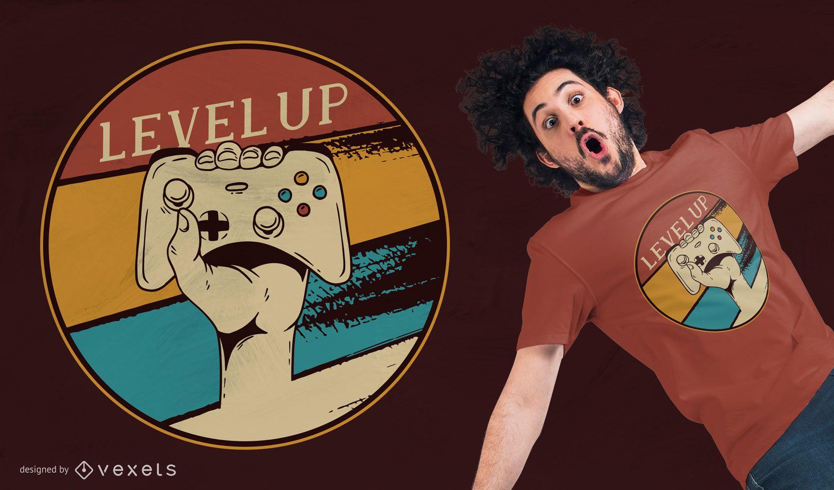 Level Up Vintage Gaming T-shirt Design