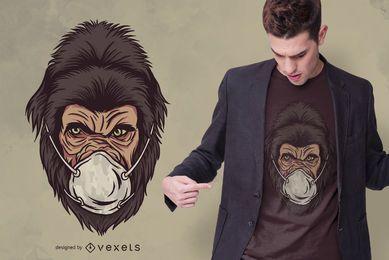 Design de t-shirt de máscara facial de gorila