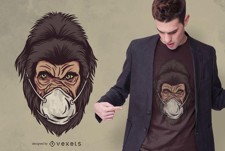 Gorilla Face Mask T-shirt Design