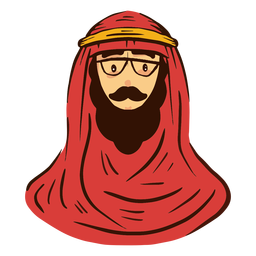 Arab man with glasses head