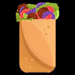Ilustración de shawarma de comida árabe