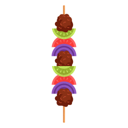 Arabic food shish kebab illustration