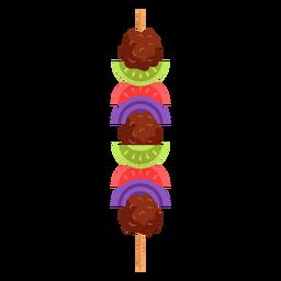 Ilustración de shish kebab de comida árabe