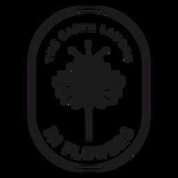 Insignia la tierra se ríe en flores