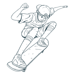 Dibujado a mano niño patinador personaje
