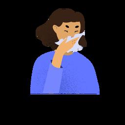Mulher doente com coronavírus