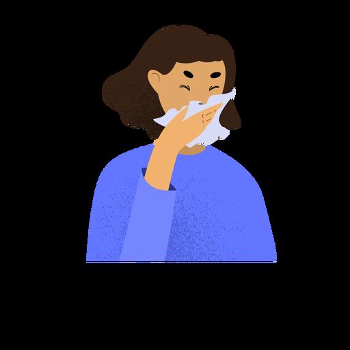 Personaje de mujer enferma de coronavirus