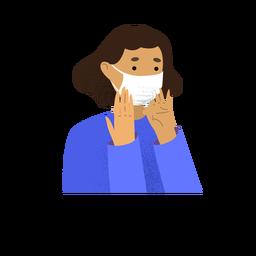 Personagem de máscara de rosto de mulher de coronavírus