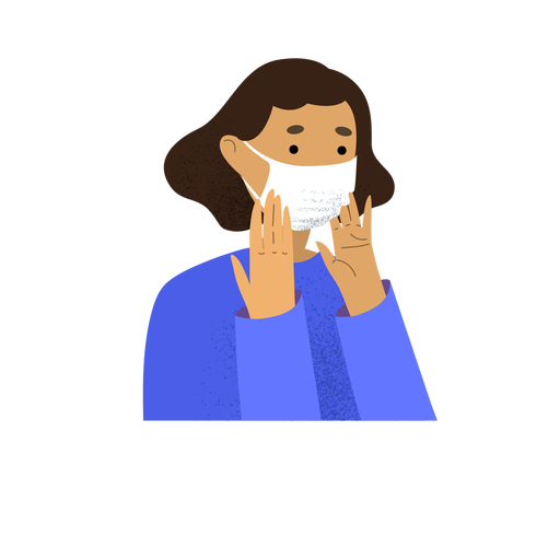 Coronavirus woman facemask character