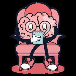 Cérebro bonito tomando notas dos desenhos animados