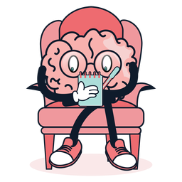 Cute brain taking notes cartoon