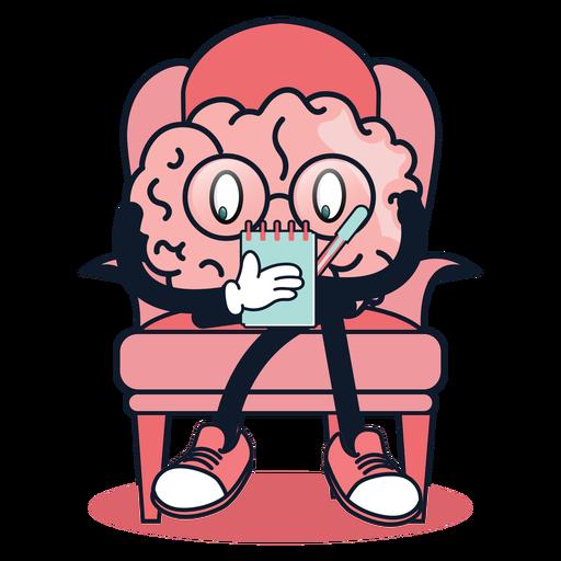 Cute brain taking notes cartoon