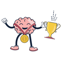 Desenho animado vencedor do cérebro bonito