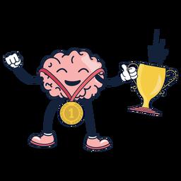 Dibujos animados lindo cerebro ganador
