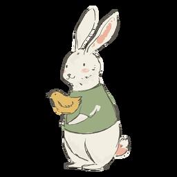 Ilustración linda del conejito y del polluelo